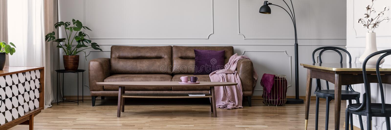 Sedie e tavola nell'interno d'annata dell'appartamento con lo strato di cuoio fra la pianta e la lampada Foto reale fotografia stock