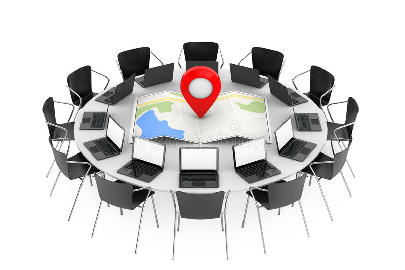 Sedie intorno ad una Tabella con la mappa ed i tum astratti piegati di navigazione illustrazione vettoriale