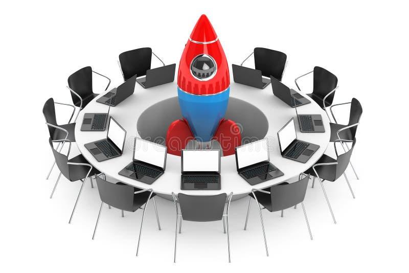 Sedie intorno ad una Tabella con Rocket Startup nel mezzo 3d si strappano illustrazione vettoriale