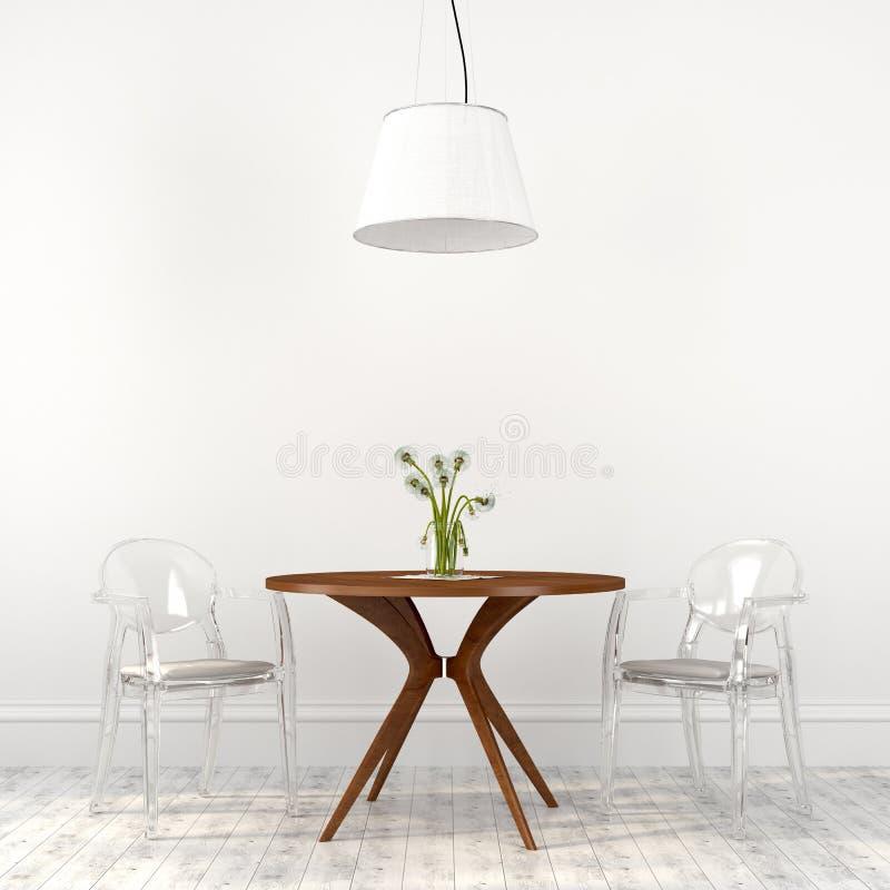 Sedie trasparenti alla moda nell'interno della sala da pranzo fotografia stock