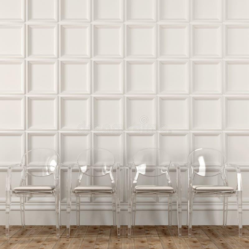 Sedie trasparenti e parete bianca immagini stock libere da diritti