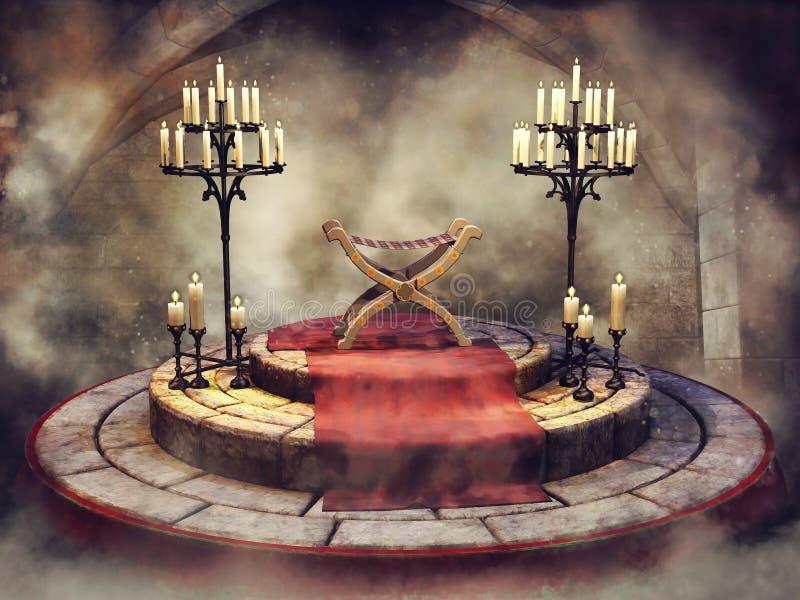 Sedile di fantasia con un tappeto rosso e i candelabras royalty illustrazione gratis