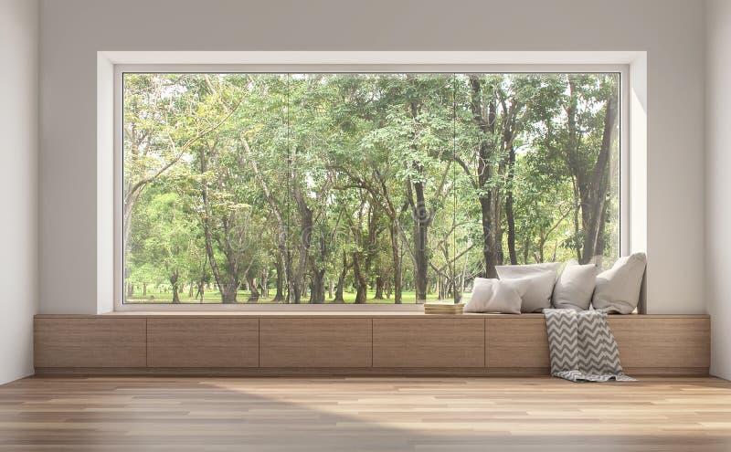 Sedile di finestra laterale con la vista 3d della natura rendere royalty illustrazione gratis