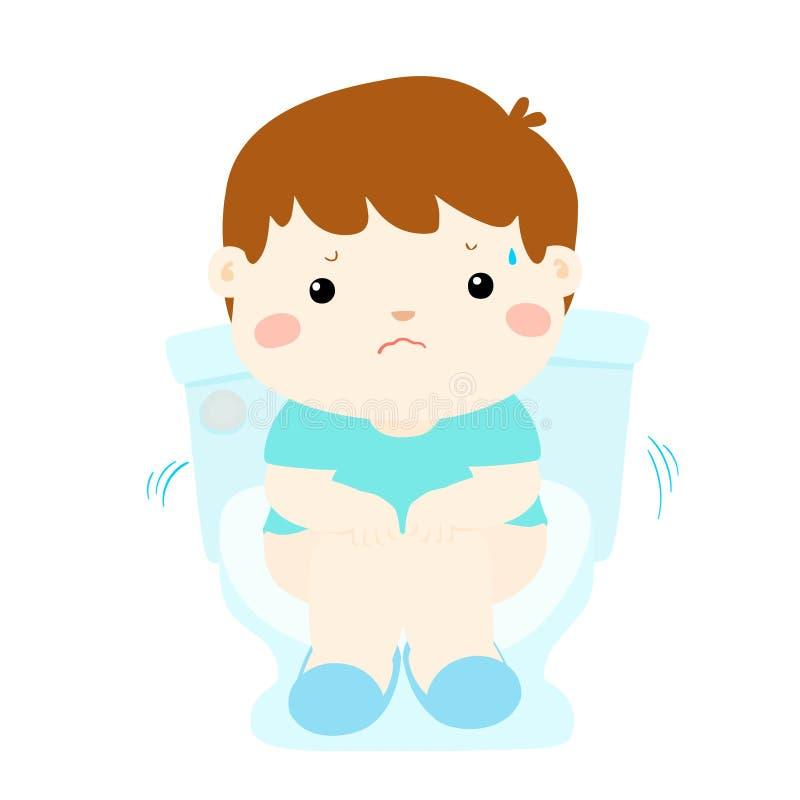 Sedile di toilette di seduta del ragazzo sveglio con il fumetto di diarrea royalty illustrazione gratis