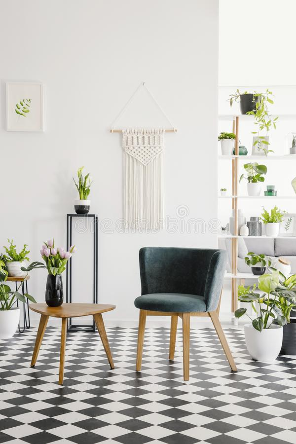 Sedile moderno e retro tavolino da salotto su un pavimento a quadretti in un interno botanico del salone Foto reale immagini stock libere da diritti