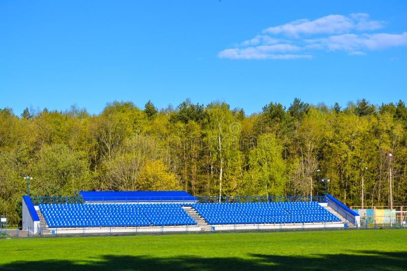 Sedili blu sulla tribuna per i fan in uno stadio situato nella zona della foresta immagine stock libera da diritti