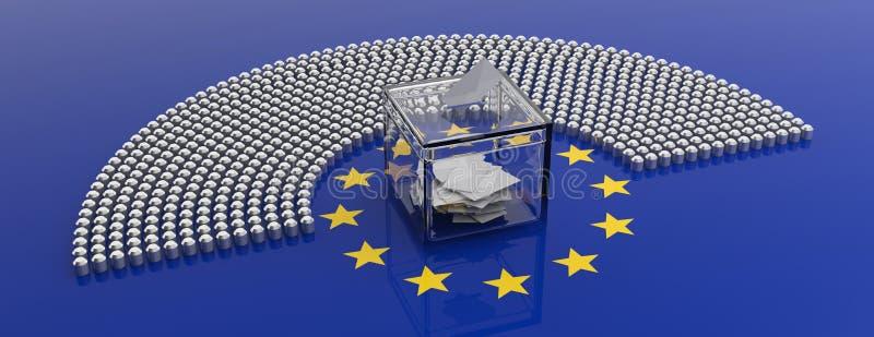 Sedili del Parlamento dell'Unione Europea e una scatola di voto sul fondo della bandiera di UE illustrazione 3D illustrazione di stock