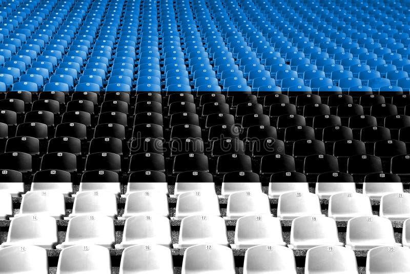 Sedili dello stadio della bandiera dell'Estonia Concetto della concorrenza di sport fotografia stock libera da diritti