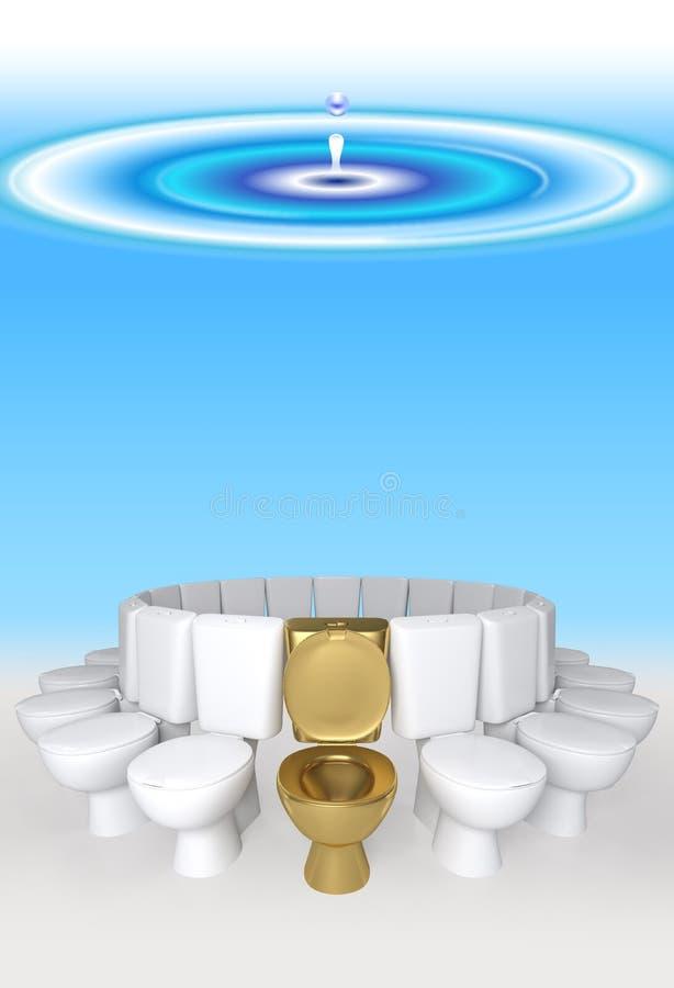 sedili dorati e bianchi di concetto della rappresentazione 3D di toilette in acqua blu royalty illustrazione gratis