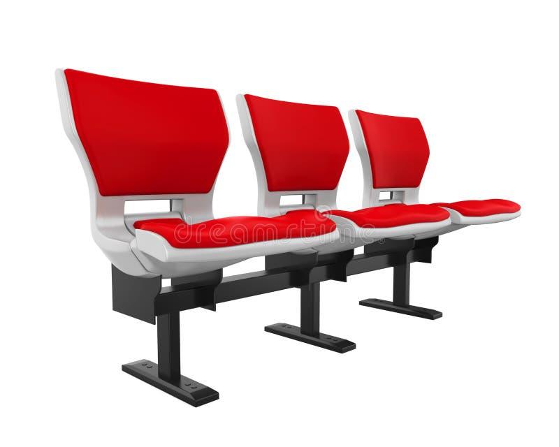 Sedili rossi dello stadio isolati illustrazione di stock