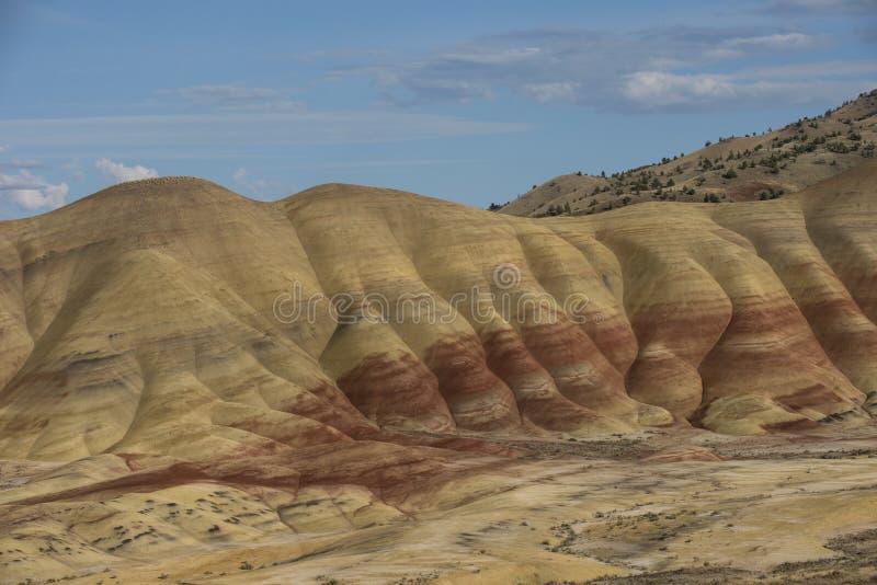 Sedimentära lager av de målade kullarna, Oregon arkivbild