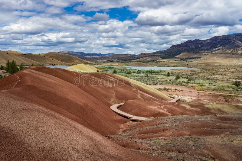 Sedimentary badlands in Painted Cove, Painted Hills, John Day Fossil Beds National Monument, Mitchell, Central Oregon desert royalty free stock photos
