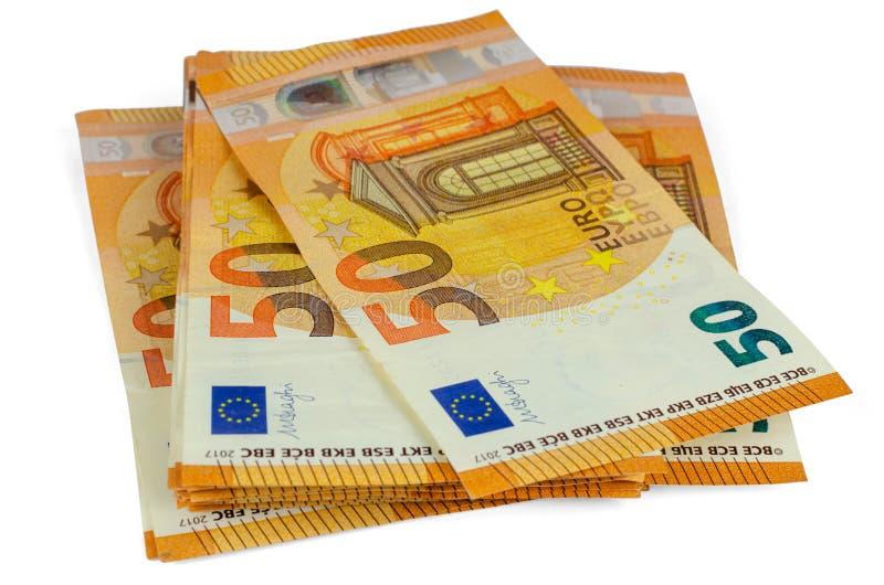 Sedlar av 50 EUR royaltyfri bild