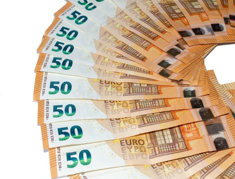 Sedlar av 50 euro arkivbilder