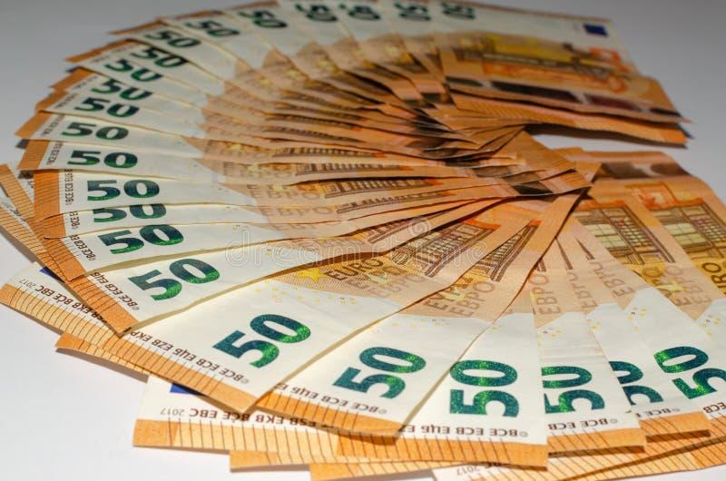 Sedlar av 50 euro arkivfoto