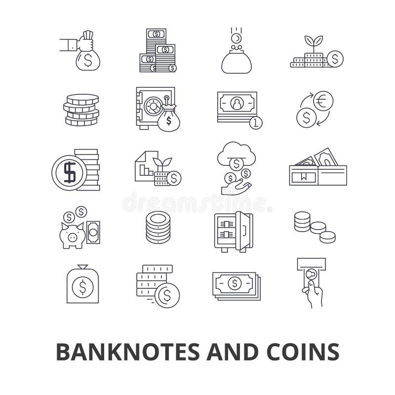 Sedlar och myntar vektor illustrationer
