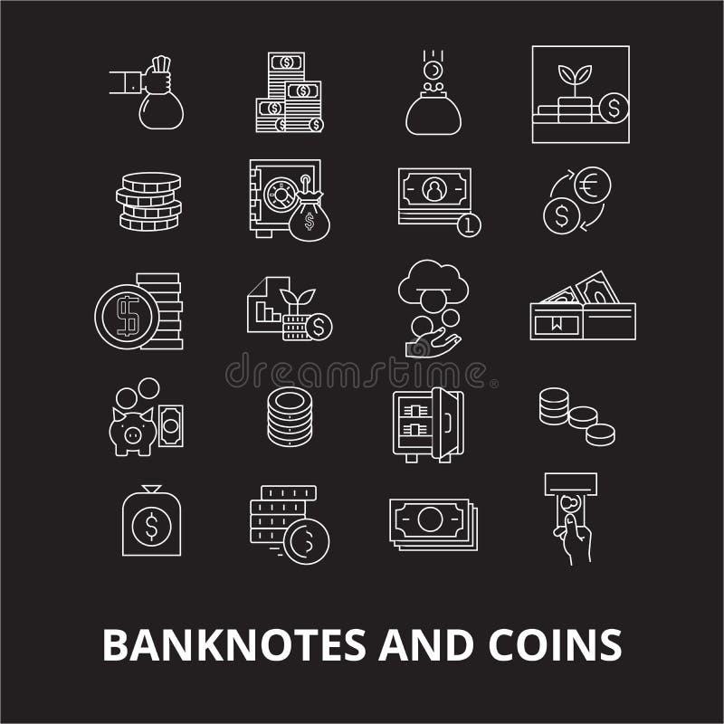 Sedlar och redigerbar linje symbolsvektoruppsättning för mynt på svart bakgrund Sedlar och vita översiktsillustrationer för mynt stock illustrationer