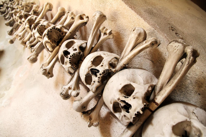 Sedlec藏有古代遗骨的洞穴 图库摄影
