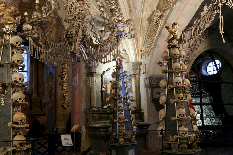 Sedlec Ossuary is a small Roman Catholic chapel, located beneath the Cemetery Church of All Saints in Sedlec, a suburb of Kutna Ho stock photo