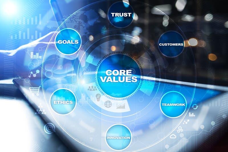 Sedno ceni biznesu i technologii pojęcie na wirtualnym ekranie zdjęcia stock