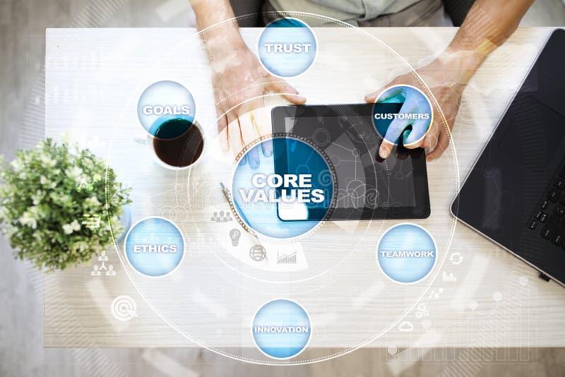 Sedno ceni biznesu i technologii pojęcie na wirtualnym ekranie zdjęcie royalty free