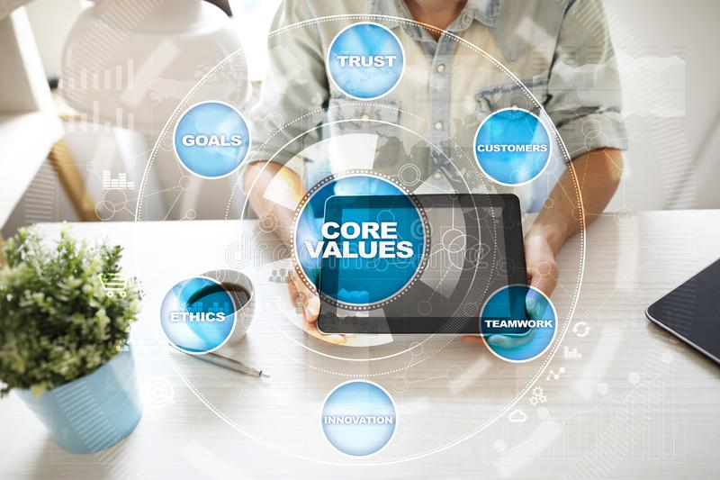 Sedno ceni biznesu i technologii pojęcie na wirtualnym ekranie obrazy stock