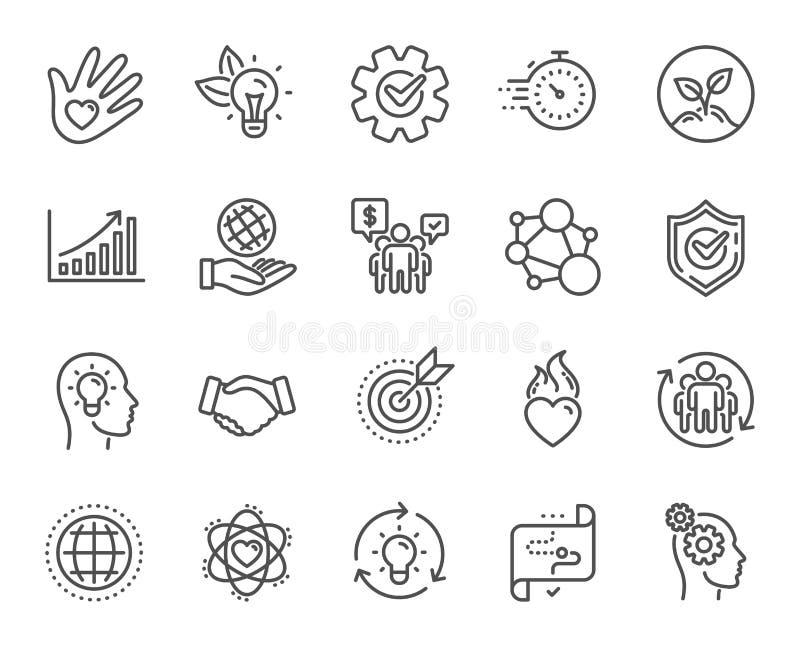 Sedno wartości kreskowe ikony Prawość, cel zamierza i strategia Zaufanie uścisk dłoni, cel wektor ilustracji