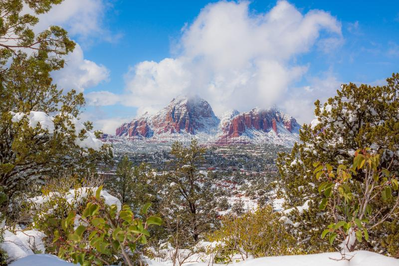 Sedona亚利桑那冬天风景 免版税库存图片