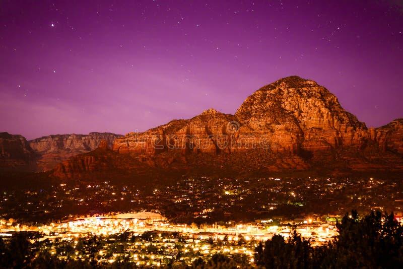 Sedona Arizona. Beautiful view of Sedona Arizona seen at night royalty free stock photo