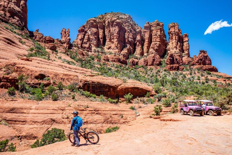 Sedona Arizona USA. Red orange color rock formations, blue sky, sunny spring day stock image