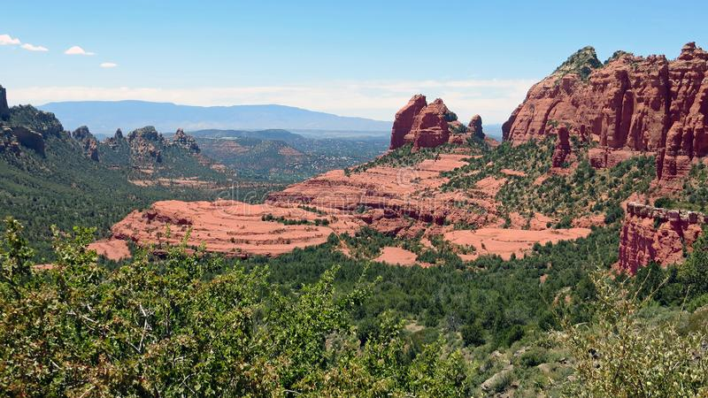 Sedona, Arizona view from Schnebly Hill. Panoramic vista of famous red rocks from an unusual vantage point royalty free stock photo