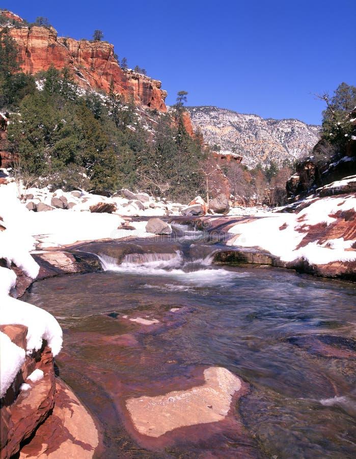 Sedona Slide Rock and Winter Snow stock photography