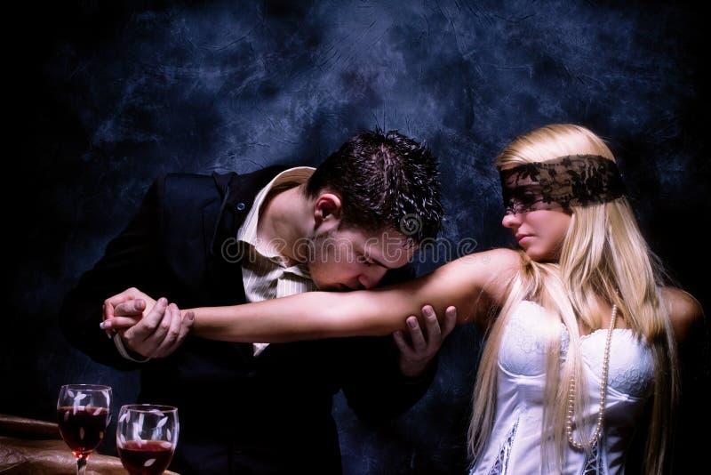 Seduction. Art of seduction, studio dark royalty free stock photography