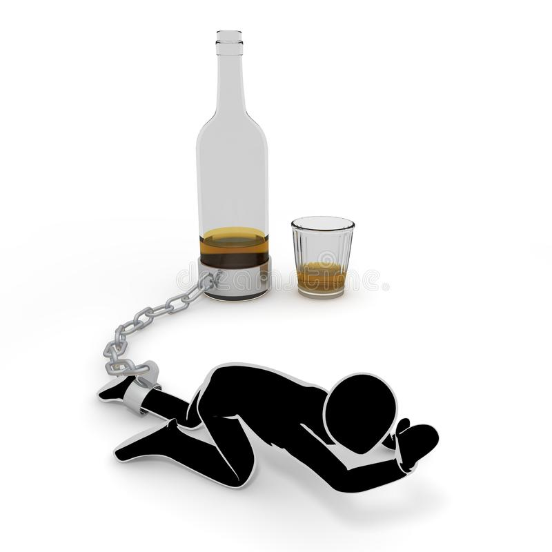 Liquor / Alcoholism / People / 3D illustration. Seduction of alcohol. I suffer from dependence. I can not quit drinking. The power of alcohol. Drink alcohol. I stock illustration