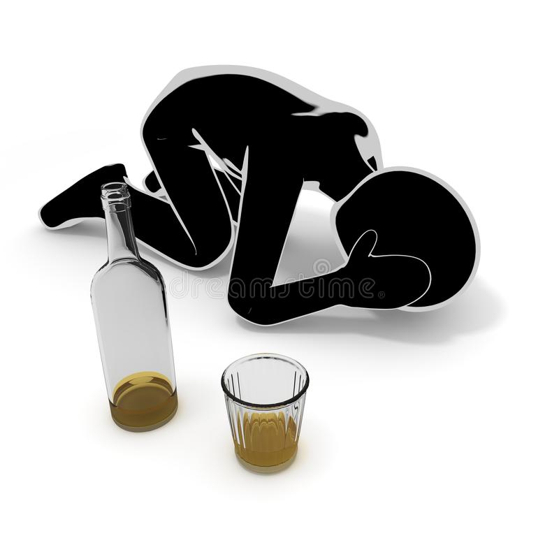 Liquor / Alcoholism / People / 3D illustration stock illustration