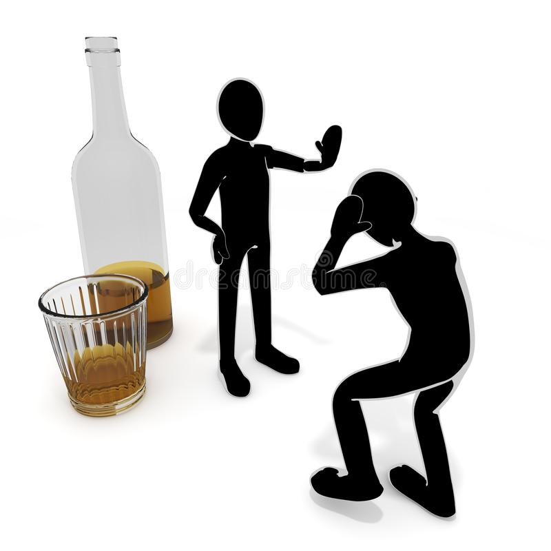 Liquor / Alcoholism / People / 3D illustration. Seduction of alcohol. I suffer from dependence. I can not quit drinking. The power of alcohol. Drink alcohol. I vector illustration
