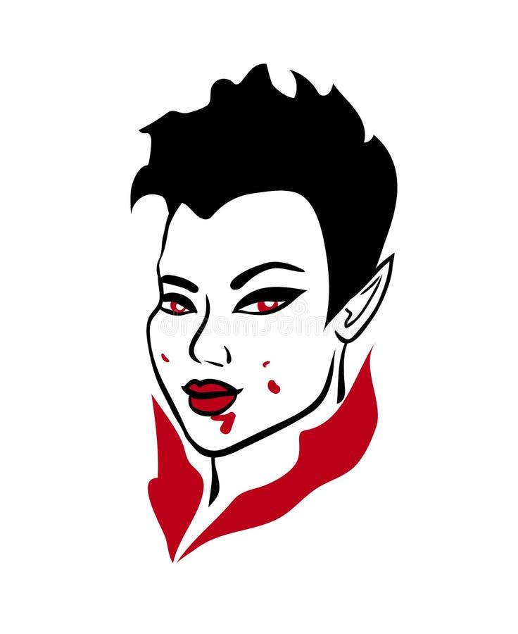 Seductive asian vampire demon girl with bloody face stock illustration