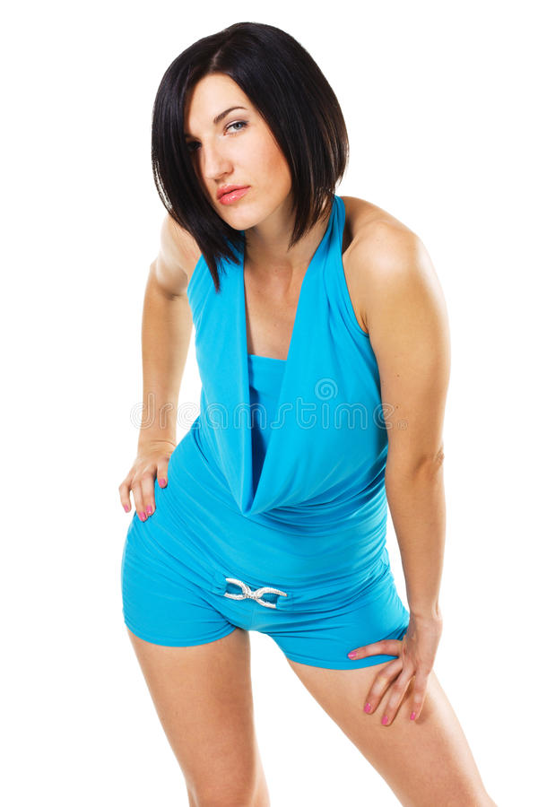 Download Seductive Brunette In Blue Dress Stock Image - Image: 16104377