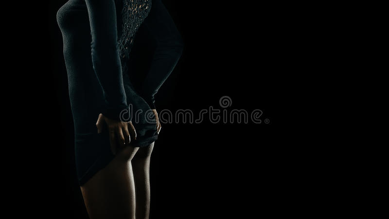 Seductive curves of woman. Artistic portrait of young seductive brunette woman. Lot of copy space royalty free stock photos