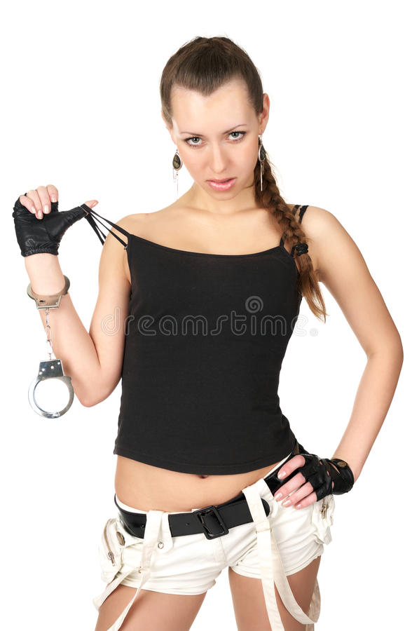 Download Seductive Girl With Handcuffs Stock Photo - Image: 14011252