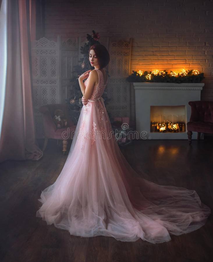 Seductive girl. In the lush, pink dress standing in the room. Christmas atmosphere fills the picture. Gentle make-up, simple hairstyle. Fashionable toning royalty free stock photo