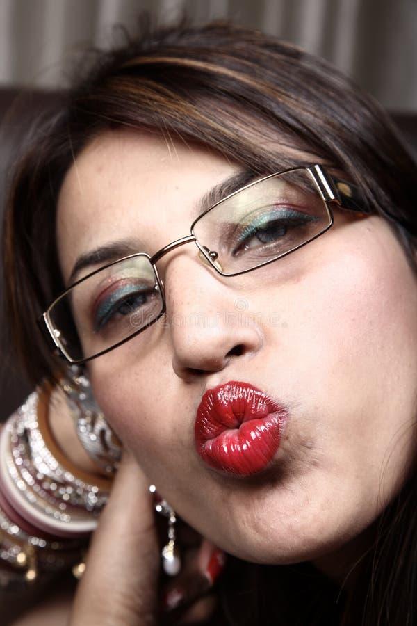 Seductive kiss stock image
