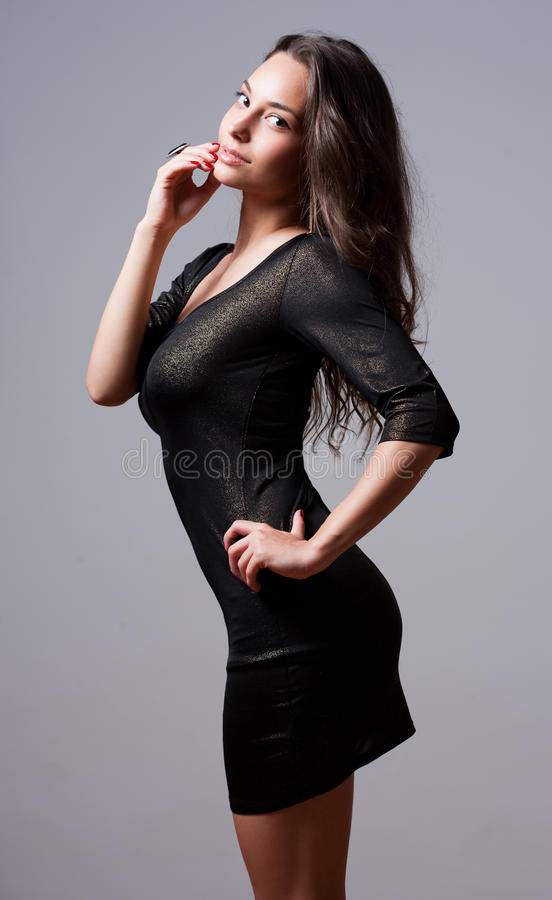 Seductive slender brunette. royalty free stock images