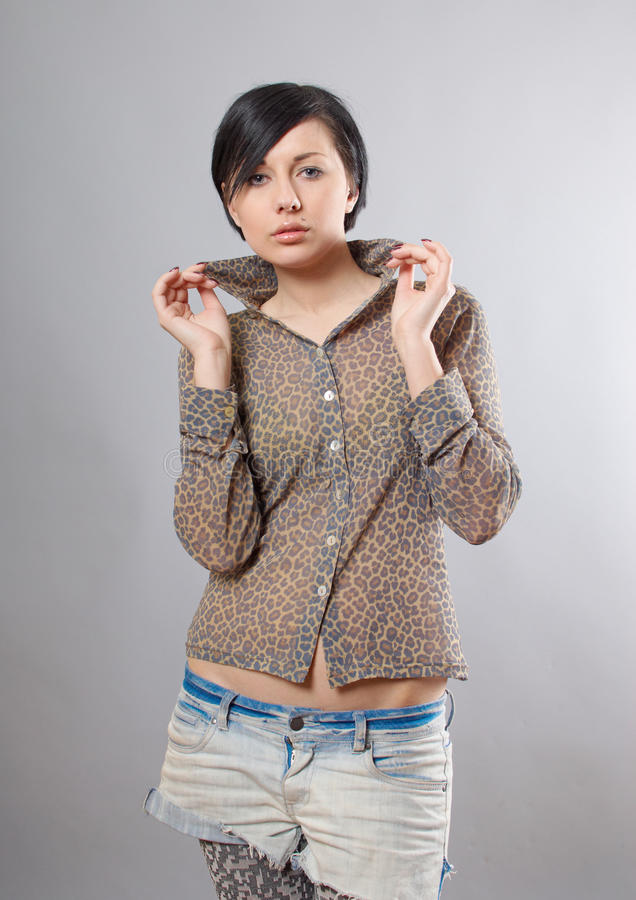 Download Seductive Young Woman In Leopard Shirt Stock Image - Image: 19297967