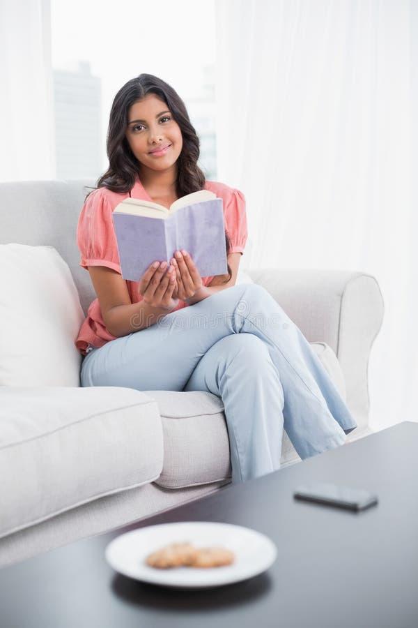 Seduta castana sveglia contenta sulla lettura dello strato immagini stock