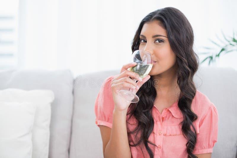 Seduta castana sveglia felice sul vino bianco bevente dello strato fotografie stock libere da diritti