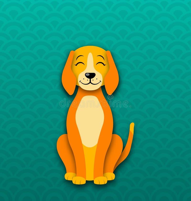 Seduta del cane del fumetto, canino divertente, nuovo anno 2018 di simbolo royalty illustrazione gratis