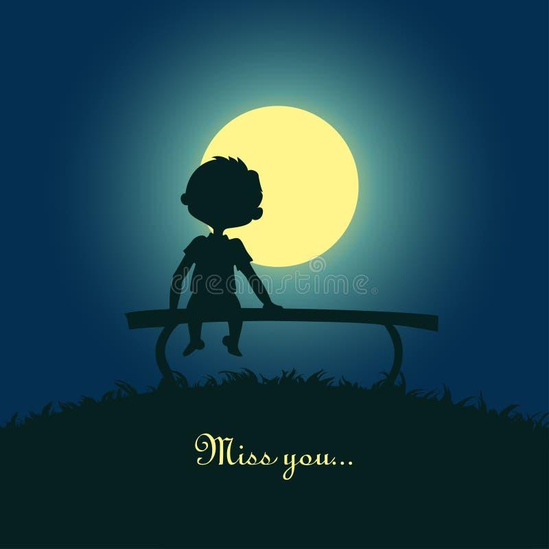 Seduta del ragazzo sola nella luce della luna illustrazione di stock