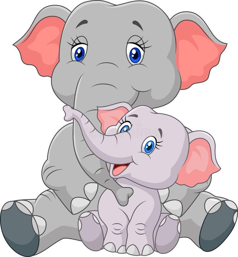 Seduta dell'elefante della madre e del bambino del fumetto isolata su fondo bianco illustrazione vettoriale