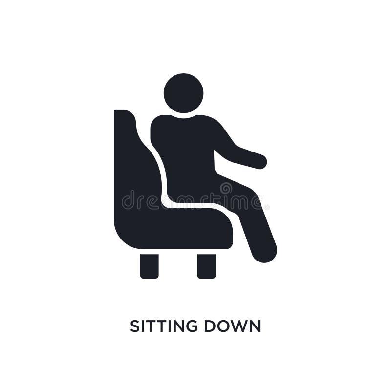 seduta dell'icona giù isolata illustrazione semplice dell'elemento dalle icone di concetto degli esseri umani seduta della proget illustrazione di stock